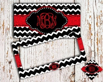 Cute license plate or frame, Monogram Car accessory, Chevron car tag, Personalized bicycle accessories, Gifts for best friends red  (1001)
