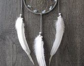 Dream Catcher Grey Suede Lacing with Rooster Feathers