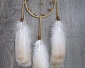 Dream Catcher Buckskin Suede with Rare Turkey Feathers