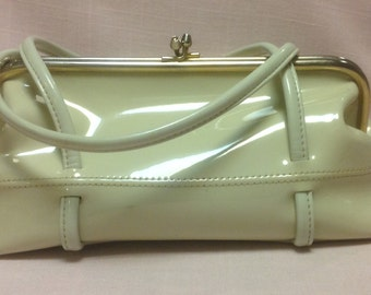 Vintage Ivory Patent Leather Purse