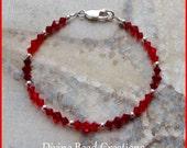 Swarovski Elements Austrian Crystal Sterling Silver Beaded Bracelet Red, Pink, Green, Blue, Purple Gift for Her