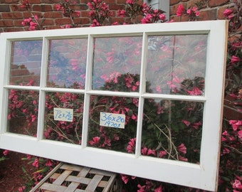 36 x 20 Vintage Window sash old  8 pane frame  from 1970s