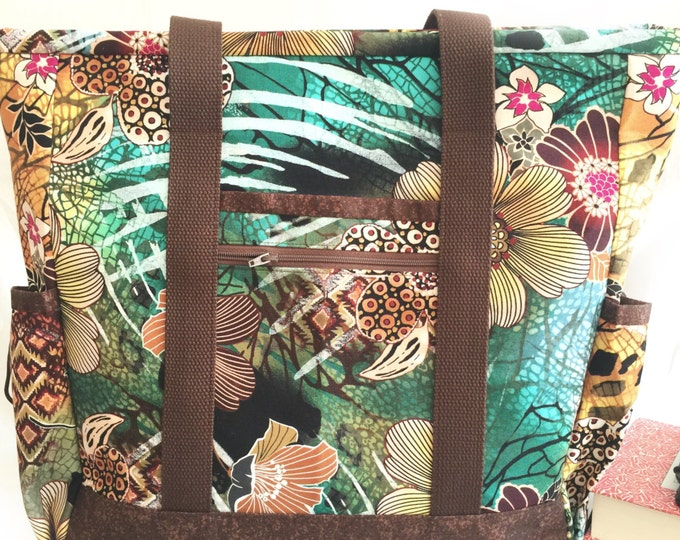 Large Tote Bag with Pockets, Teacher Tote, Work Tote, Diaper Bag, Hawaiian Floral Kitchen Sink Tote, Professional Tote, Carry On, Nurse Tote