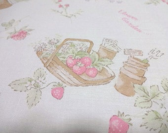 Japanese Fabric YUWA Strawberry Flower White Fat Quarter