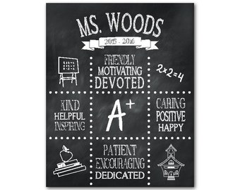 Personalized teacher appreciation gift - Chalkboard print - customize with teacher's name and school year - end of school gift idea