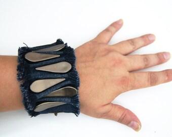 FREE Shipping Bronze Ruff Edged Denim Blue Jean Bracelet, Denim Bracelet Cuff ,Blue Jean Cuff Bracelet, Recycled Blue Jean Bracelet,