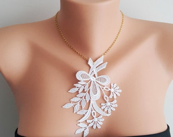 White Necklace/ Lace Necklace/ Silver/ Gold Necklace/ Arc Necklace/ Flower Necklace/ Wedding Necklace/ Gift For Her