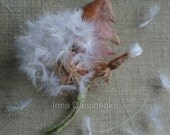 Pink Dandelion Brooch with a full head of fluffy seeds summer spring wedding