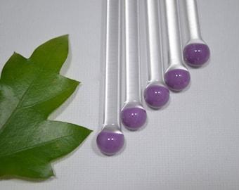 Swizzle Sticks, Glass Swizzle Sticks, Purple Swizzle Sticks, Glass Custom Swizzles, Glass Rods (5 pack) made of Borosilicate