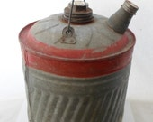 ON SALE Industrial, Fuel, Can, Gas, Oil, Kerosene, Galvanized, Farm, Rusty, Red, Small, Vintage