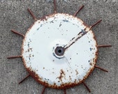 ON SALE Vintage, White, Rusty, Tines, Sun, Farm, Cultivator, Tractor, Round, Wheel, Salvaged, Steampunk,  Assemblage, Sculpture, Metal