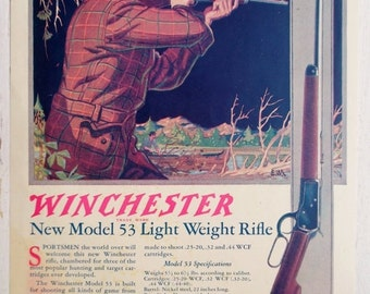 ON SALE 1924, Winchester Model 53, ad from National Sportsman Magazine, Vintage
