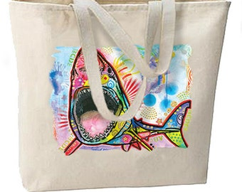 Neon Artsy Shark New Large Tote Bag Travel Shop Events Gifts Glittery