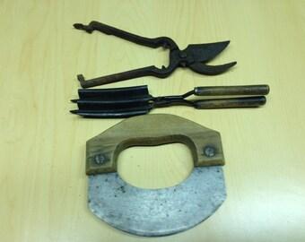 Eclectic Collection of unique vintage  tools. Pruner, Dough cutter, Hair Crimper