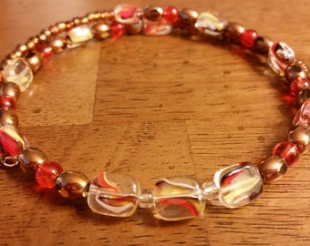 Leo Necklace - Beaded Memory Wire Necklace in Brown, Orange, and Yellow