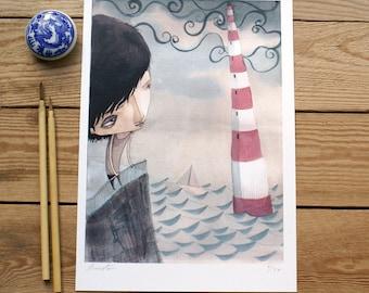 ART PRINTS // lighthouse child // illustration watercolor