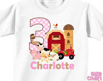 Personalized Barnyard Farm Animals Boy Girl Birthday Party T-shirt Bodysuit Kids Cow Horse Sheep Chickens Pig Tractor Shirt
