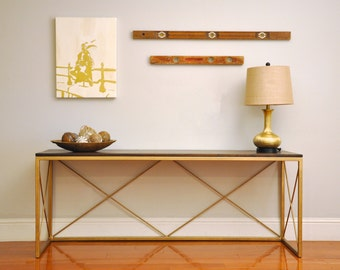 the CHARLESTON Console Table - Custom Reclaimed Walnut Wood Console, Sofa or Entry Table