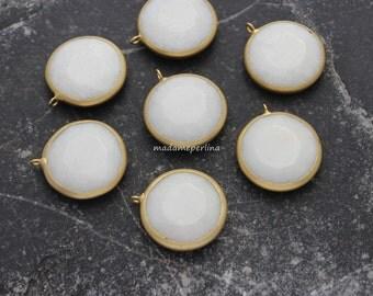 24mm   white jade gold pendant faceted gemstone charm bezel matte gold plated turkish supplies