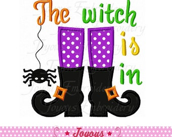 Instant Download Halloween The Witch is in Boots Applique Machine Embroidery Design NO:2205
