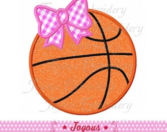 Instant Download Basketball With Bow Applique Machine Embroidery Design NO:2004