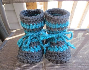 Dark Grey and Turquoise Blue Baby Toddler Child Crochet SHEEPSKIN Booties and Slippers with Upcycled Leather and Sheepskin Shearling Sole