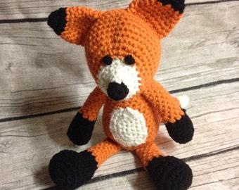 Fox Lovie Amigurumi,  Crochet Animal, fox stuffed toy, crochet fox, fox child toy, woodland stuffed animal doll