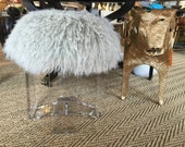 Real Natural Mongolian Lamb Fur Up Cycled ACRYLIC Stool Bench Tibet Lamb Sheepskin Ottoman Shabby Chic in SILVER GRAY or Custom Color