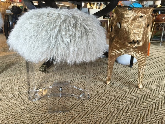 Real Natural Mongolian Lamb Fur Up Cycled Acrylic Stool Bench