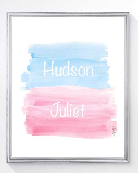 Personalized Twins Nursery Print in Pink and Blue, 8x10