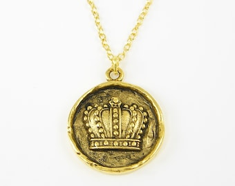Gold Crown Necklace - Antique Gold Crown Pendant Charm Round Medallion Royalty Regal on 18 Inch Gold Plated Chain Jewelry |NU1-14