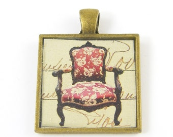 Chair Pendant, Red Tan Furniture Jewelry Charm