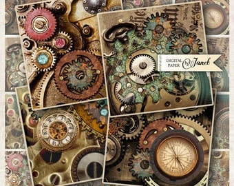 Steampunk - squares image - digital collage sheet  - 2.5 x 2.5 inch - Printable Download