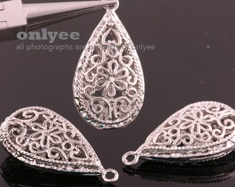 2pcs-30mmX16mm White Gold  plated Romantic Flower Tear drop pendants(K120S)