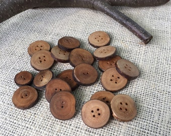 Wood Buttons, Handmade, Rustic, Natural Twig Buttons
