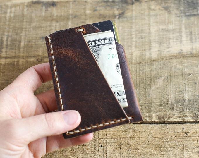 Horween Leather Wallet // Horween Leather Brown Nut Derby - Vintage Brown Leather // Custom Slim Front Pocket Wallet // Monogrammed Wallet