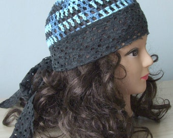 Rhea grey - women crochet beanie HAT/ cotton fabricvcrochet hat/ chemo hats