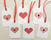 Valentine Heart Hang Tags-May Order Set Of 6 or 12 With Same Shipping Price
