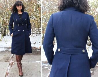 Vintage Virgin Wool TRENCH COAT Denmark Made HOBSON Of Copenhagen 70s Mod Military Inspired Navy Blue doubled breast Woman Midi Overcoat S/M