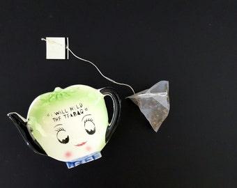 "Vintage Teabag Holder Anthropomorphic Ceramic  ""I Will Hold the Teabag"" Made in Japan Green"