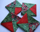 Folded fabric coasters, mug rugs, candle mats, Christmas decorating, holiday coasters, little quilts, home decor