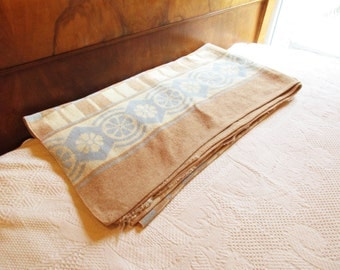 Camp Blanket - Cotton/Wool Blend - Powder Blue and Camel Tan Against Cream - Soft Camp Blanket - Reversible - Arts and Crafts - Rolled Hem