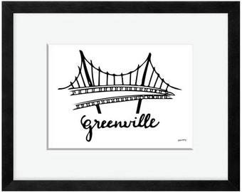 Liberty Bridge in Greenville, SC Print