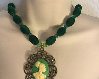 Green Vintage Cameo Necklace