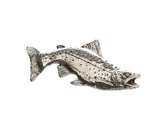 Pewter ~ Brook Trout Curved ~ Lapel Pin/Brooch ~ F007A,FC007A,FP007A