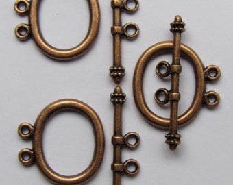 TOGGLE CLASP 21x18mm Antique Copper 2 Strand 3 sets bar and ring Base Metal Alloy