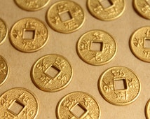 12 pc. Raw Brass Chinese Coin Stampings: 17mm in diameter - made in USA | RB-822