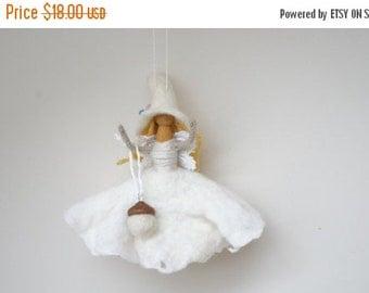 CIJ SALE Good luck kitchen witch doll handmade hanging ornament felt dress hat Halloween hand white wedding fairy fay small flower wedding e