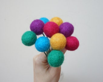 Felt pom pom flowers craspedia bouquet multicolor wool balls  blue pink purple green yellow arrangement stem floral Easter Billy buttons