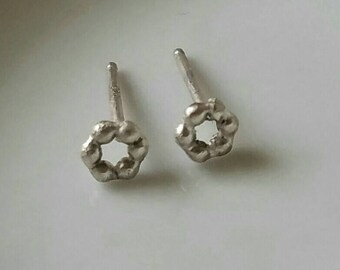 Tiny beaded  sterling silver circle  studs